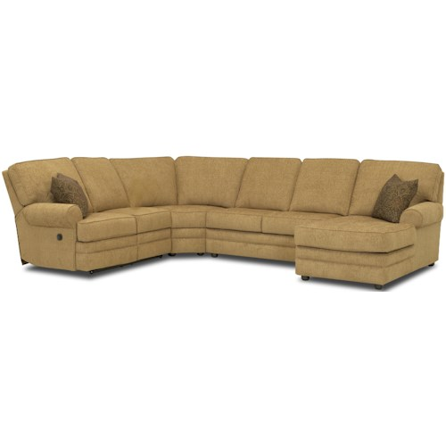 Klaussner Belleview Reclining Sectional with Right-Side Chaise