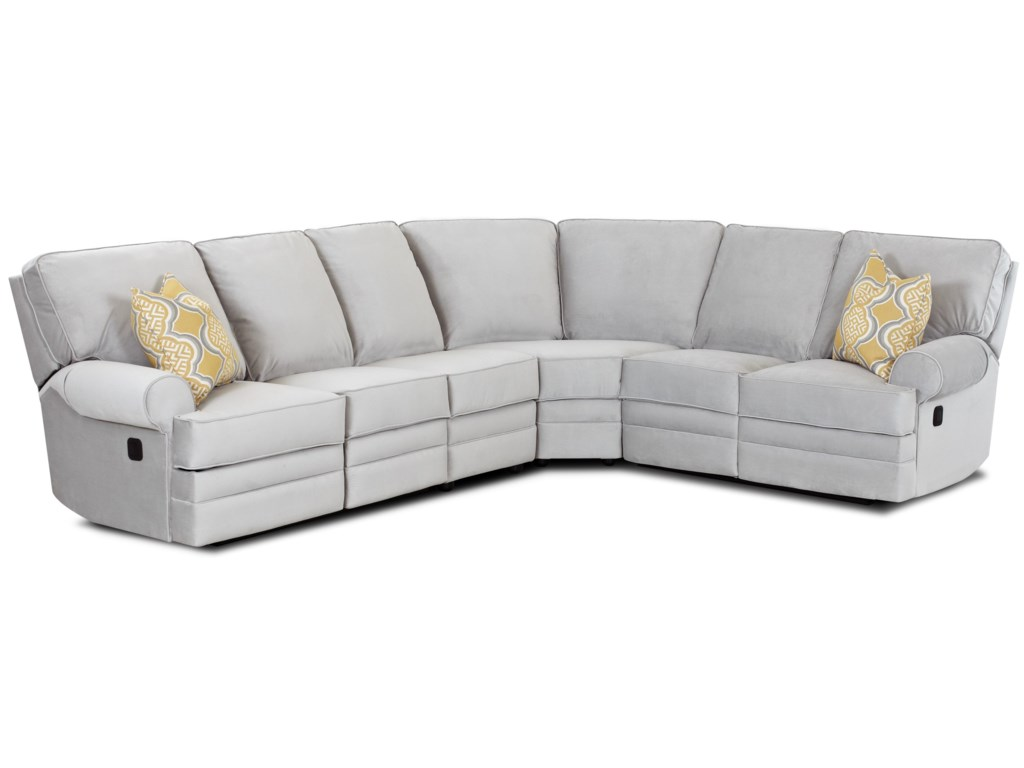 Klaussner Belleview Classic Reclining Sectional Sofa With Rolled