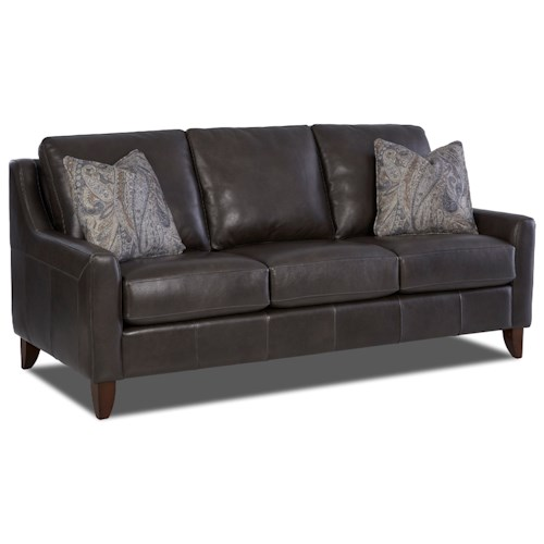 Klaussner Belton Leather Sofa with Track Arms and Fabric Pillows
