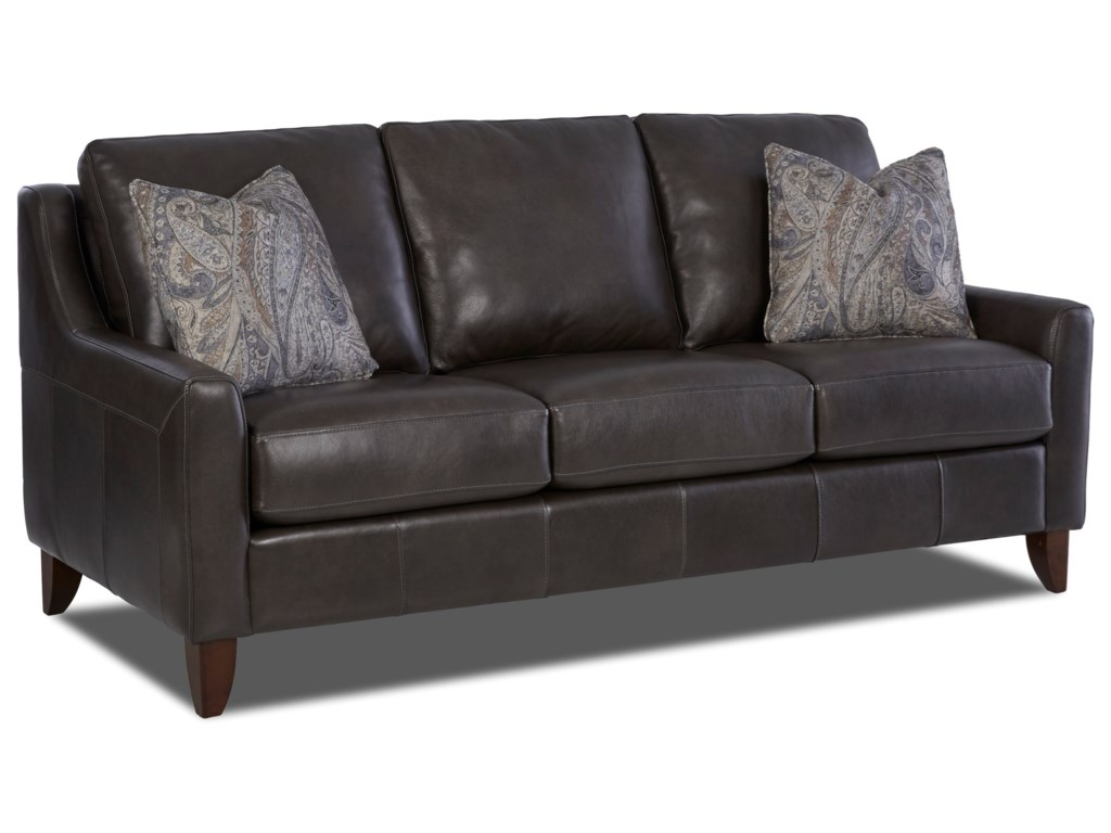 Klaussner BeltonBELTON Leather Sofa w/ Pillows