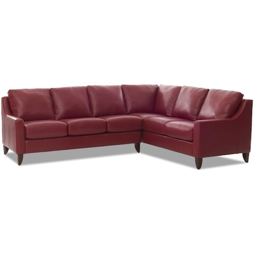 Klaussner Belton Casual 5 Seat Sectional with Track Arms