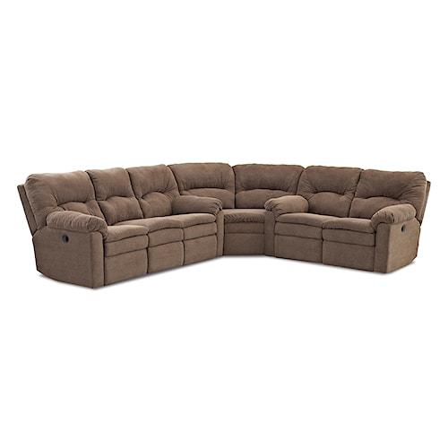 Klaussner Bennington Casual 3 Piece Power Reclining Sectional Sofa