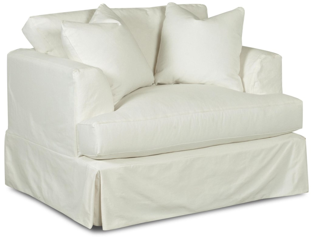 Klaussner Bentley Oversized Slipcover Chair With Flared Track Arms