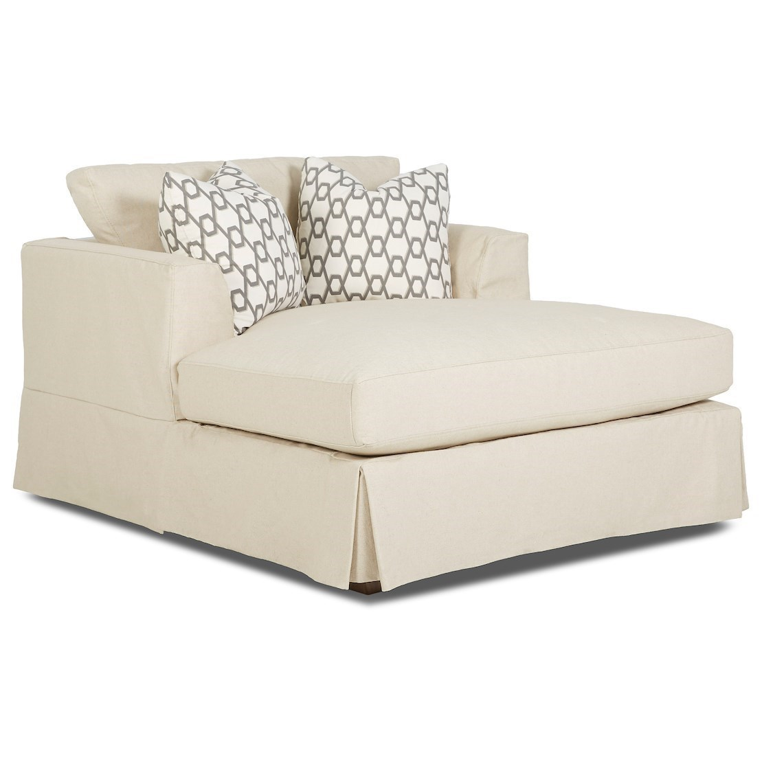 Wide Slipcover Chaise with Flared Track Arms