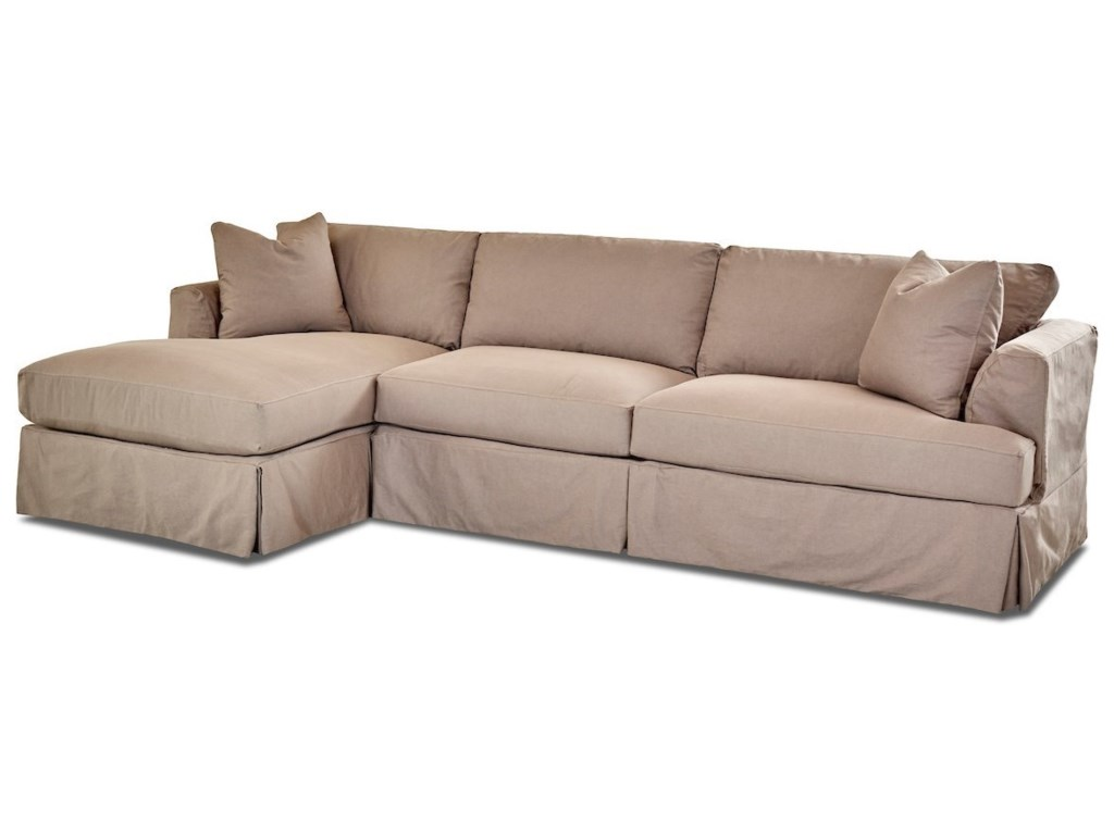 Klaussner Bentley3-Seat Chaise Sofa Sectional w/ LAF Chaise