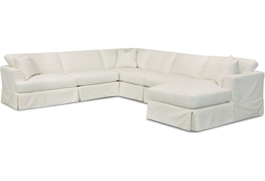 Klaussner Bentley 5 Seat Slipcover Sectional Sofa With Raf Chaise