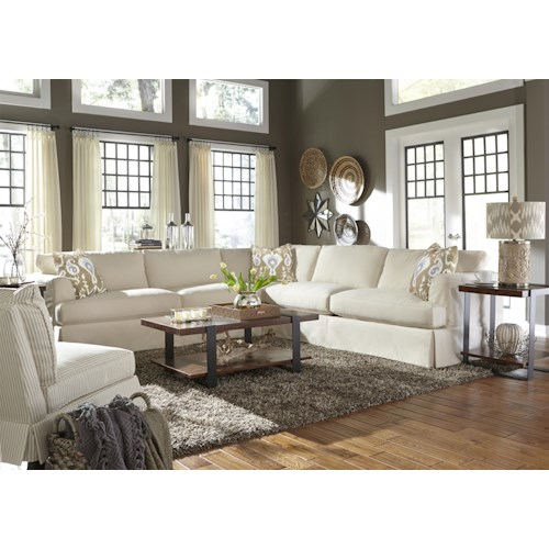 Klaussner Bentley Casual Sectional Sofa with Slip Cover