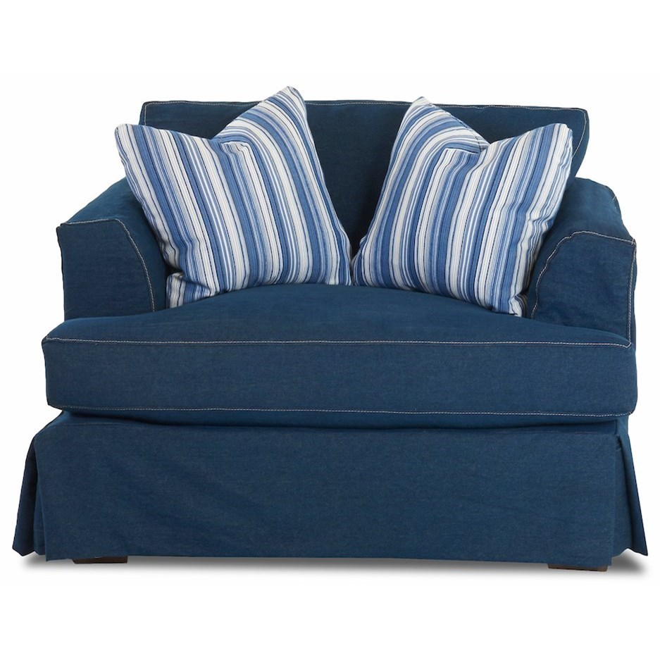 Oversized Slipcover Chair with Flared Track Arms