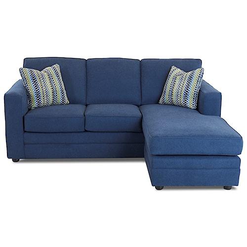 Klaussner Berger Chaise Sleeper Sofa with Queen Size Air Coil Mattress