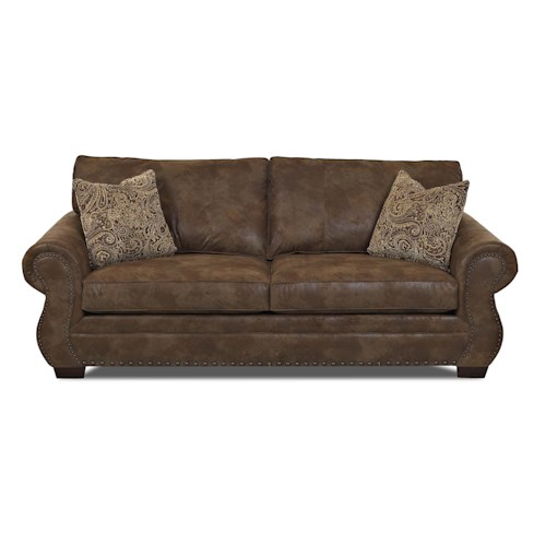 Klaussner Blackburn Traditional Enso Memory Foam Regular Sleeper Sofa with Rolled Arms and Nailhead Trim