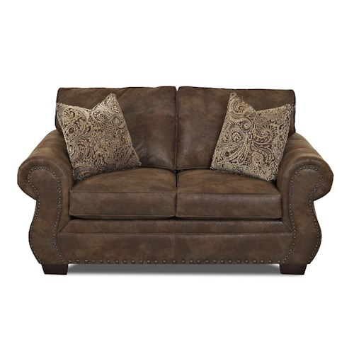 Klaussner Blackburn Traditional Loveseat with Rolled Arms and Nailhead Trim