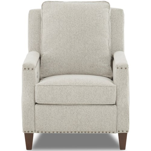 Klaussner Bond Transitional Power High Leg Reclining Chair with Nailheads