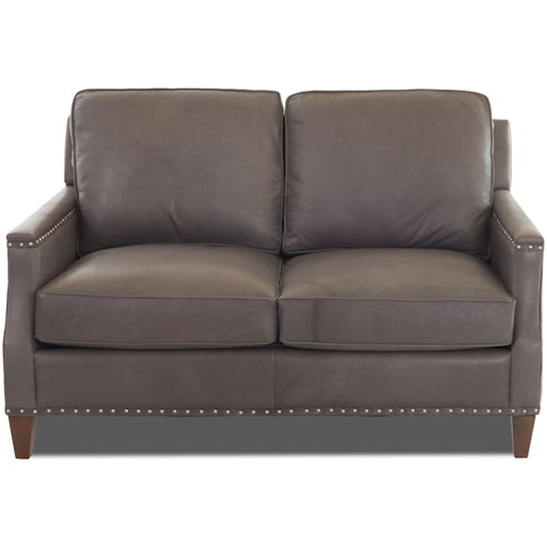 Klaussner Bond Transitional Loveseat with Nailhead Studs (No Trim)