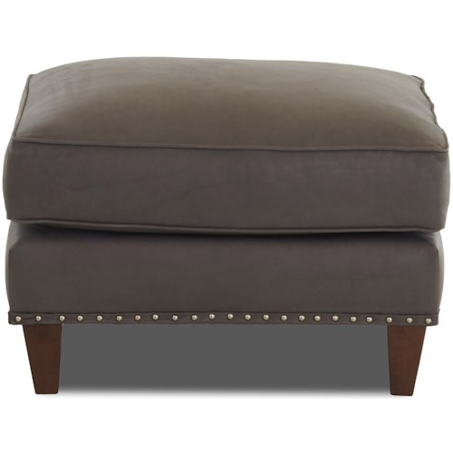 Klaussner Bond Ottoman with Nailheads (No Trim)