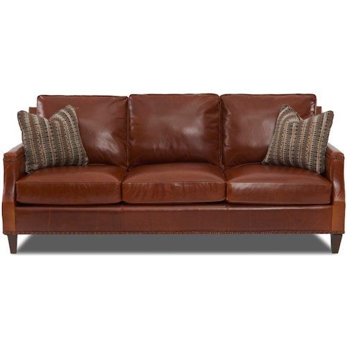 Klaussner Bond Transitional Leather Sofa With Nailhead Studs And Toss Pillows