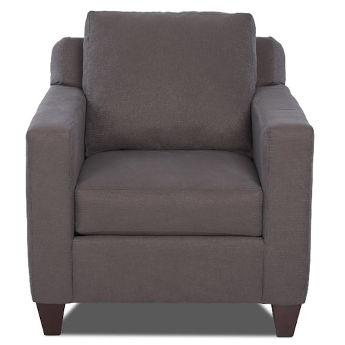 Klaussner Bosco Contemporary Chair with Loose Pillow Back and Track Arms