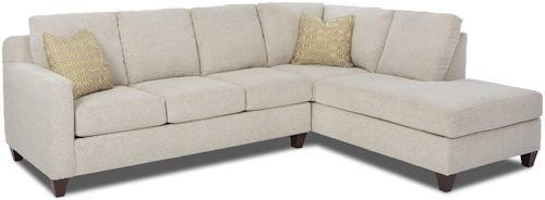 Klaussner Bosco Contemporary 2-Piece Sectional with Right Arm Facing Sofa Chaise