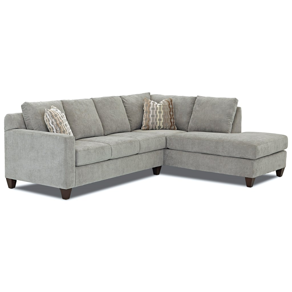 Klaussner Bosco Contemporary 2 Piece Sectional With Right Arm  ~ Sofa With Chaise Ottoman