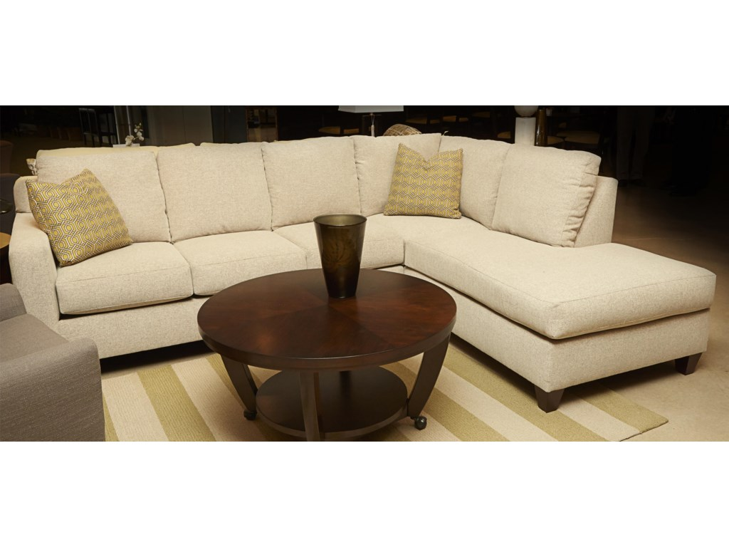 Klaussner Bosco Contemporary 3-Piece Sectional with Right Arm Facing ...