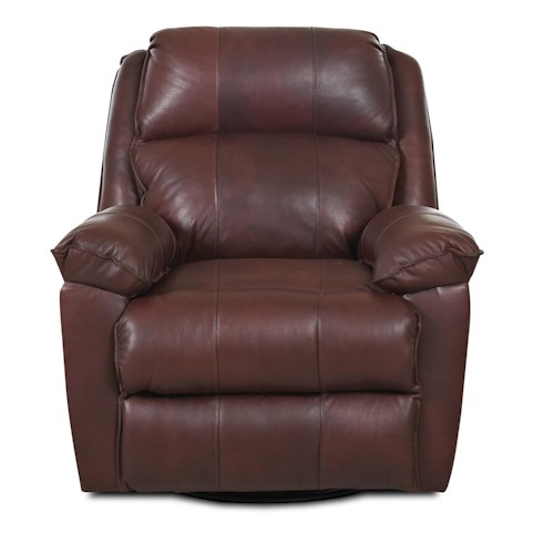 Klaussner Brandt Casual Swivel Gliding Reclining Chair with Padded Chaise Seat