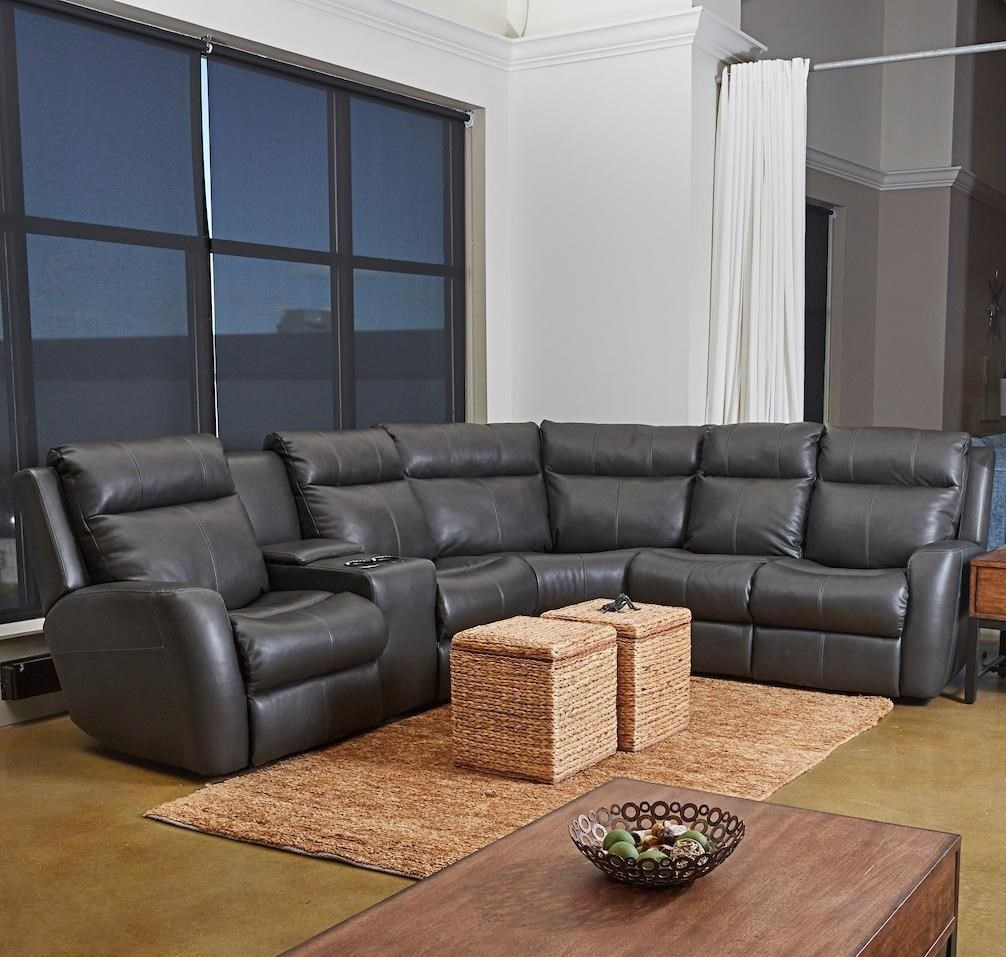 4-Seat Reclining Sectional Sofa with LAF Cupholder Console