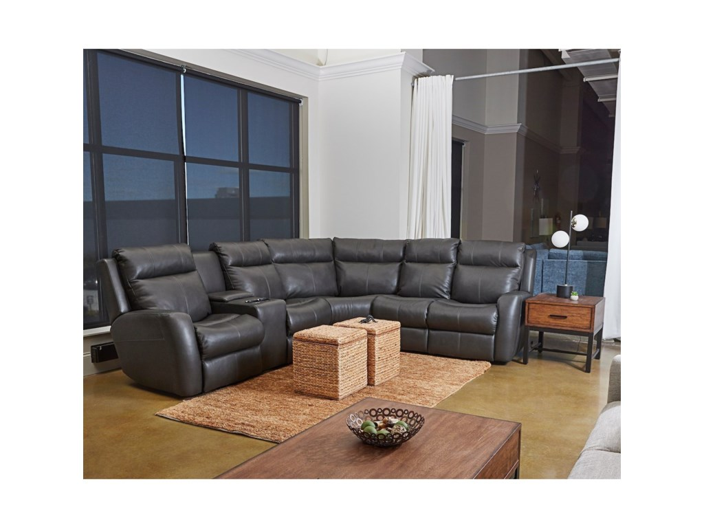 Klaussner Brooks4-Seat Reclining Sectional w/ LAF Console