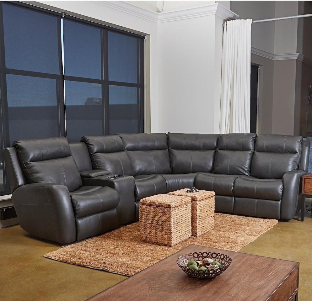 4-Seat Power Reclining Sectional Sofa with USB Ports, Headrests, and LAF Cupholder Console