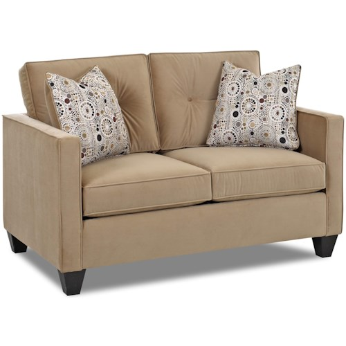 Klaussner Brower 943 Contemporary Loveseat with Track Arms, Button Tufted Seat Back Cushions and Welt Trim