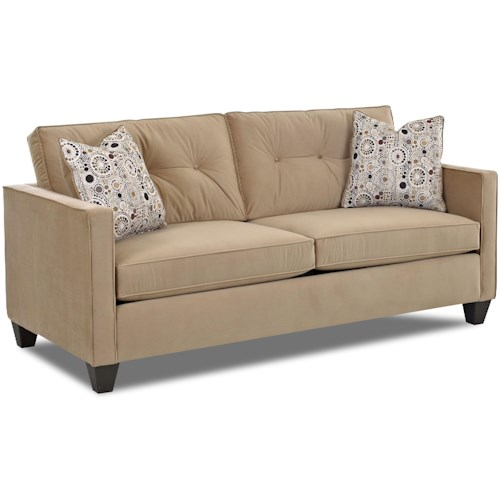 Klaussner Brower 943 Contemporary Stationary Sofa with Track Arms, Button Tufted Seat Back Cushions and Welt Trim