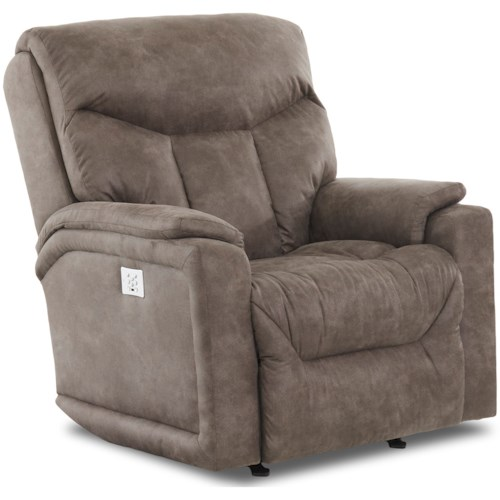 Klaussner Bugatti Casual Power Rocker Recliner with USB Charging Port, Bluetooth App, & Power Headrest