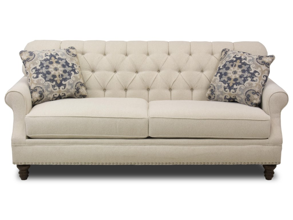 Metropia Barrington Traditional Tufted Apartment Size Sofa With Nailheads Ruby Gordon Home Sofas
