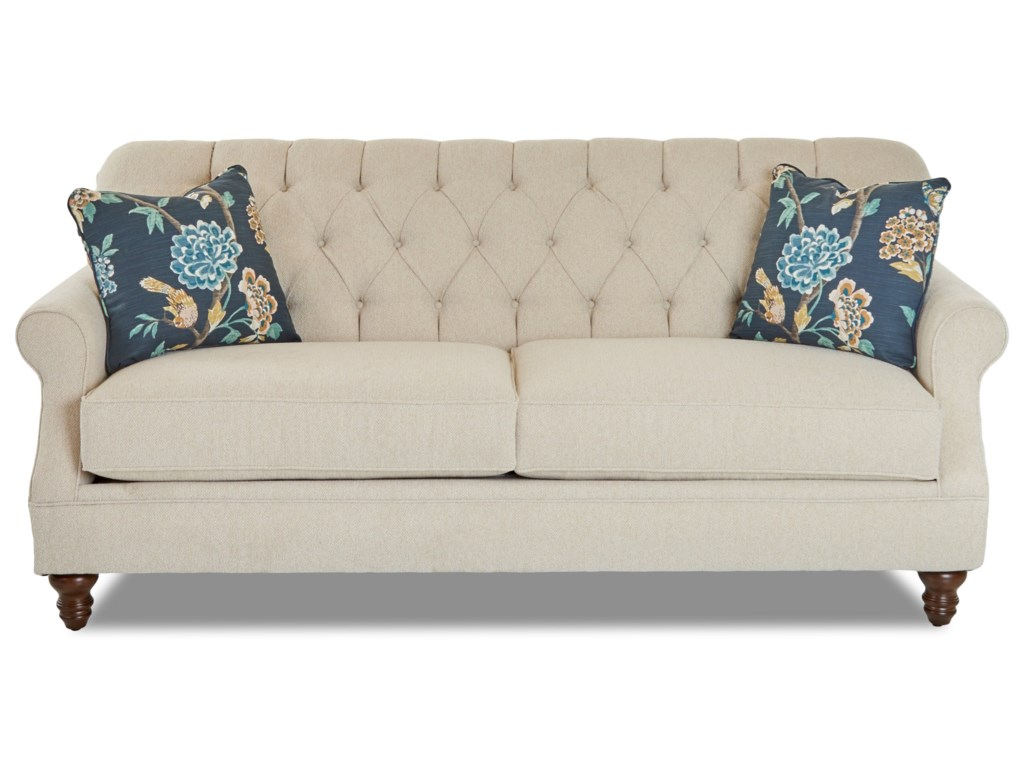 Burbank Traditional Tufted Apartment-Size Sofa by Klaussner at Novello Home  Furnishings