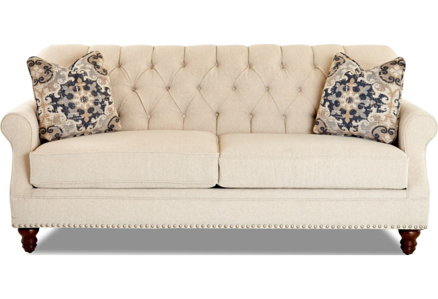 Klaussner Burbank Traditional Tufted Apartment-Size Sofa ...