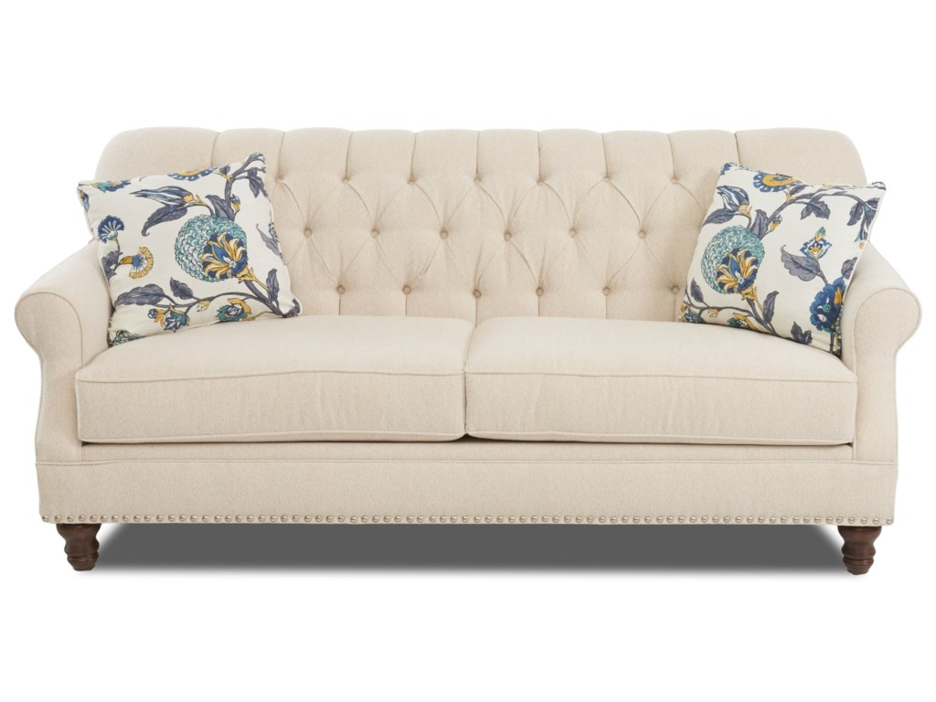Klaussner Burbank Traditional Tufted Apartment-Size Sofa with ...