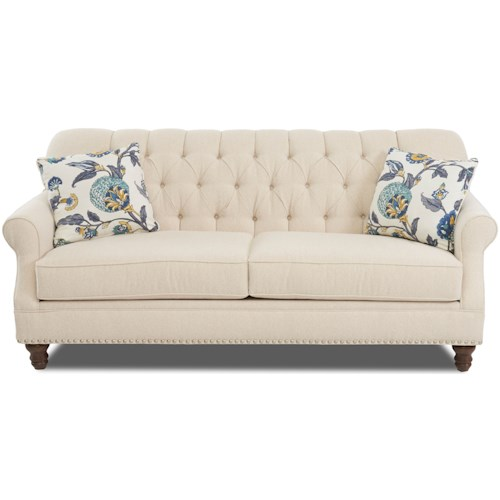 Klaussner Burbank Traditional Tufted Apartment-Size Sofa with Nailheads