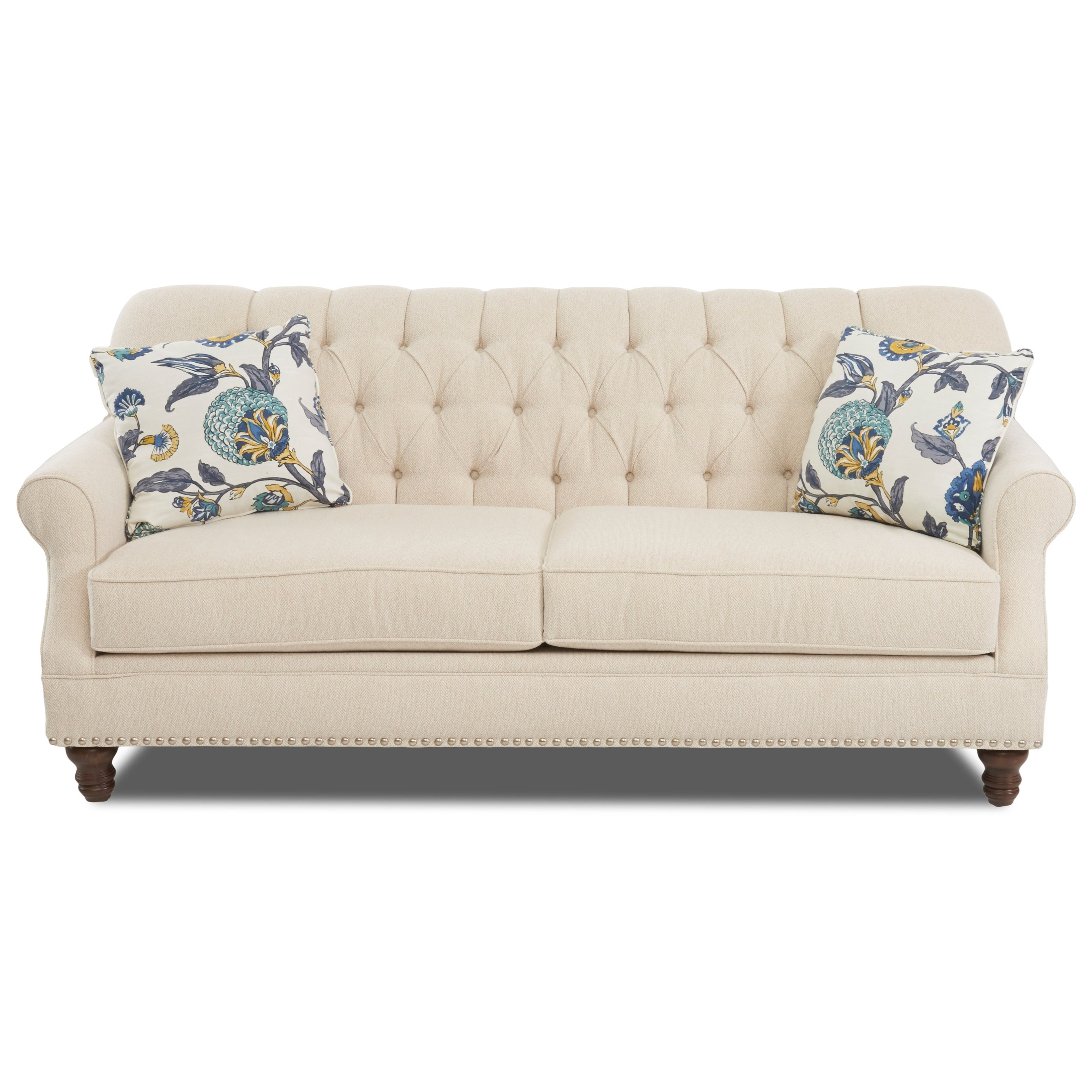 Klaussner Burbank Traditional Tufted Apartment Size Sofa With Nailheads