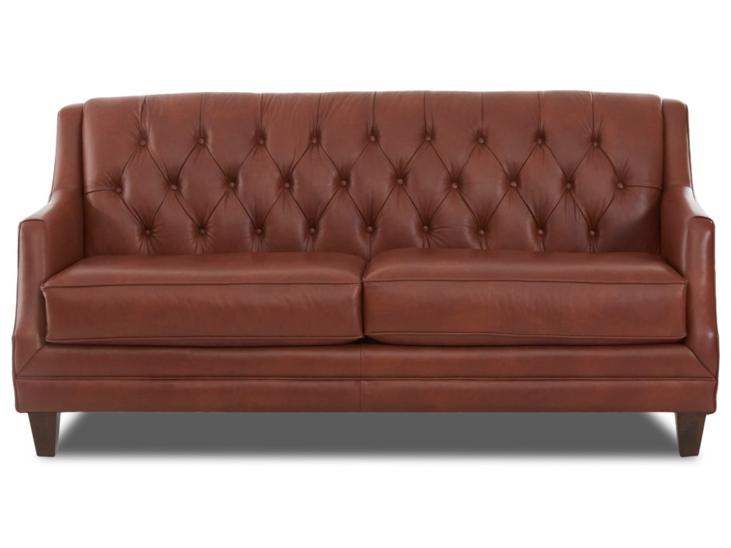Buxton Traditional Tufted Leather Sofa by Klaussner at Novello Home  Furnishings