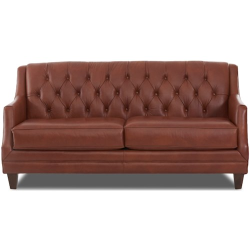 Klaussner Buxton Traditional Tufted Leather Sofa