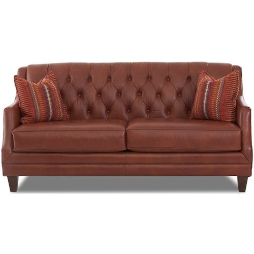 Klaussner Buxton Traditional Tufted Sofa with Fabric Toss Pillows