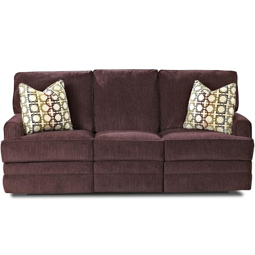 Klaussner Callahan Casual Reclining Sofa with Track Arms and Pillows
