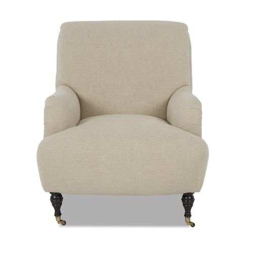 Klaussner Cameron Traditional Accent Chair with Rolled Arms and Casters