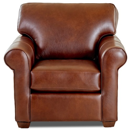 Klaussner Canoy Transitional Chair with Rolled Arms and Exposed Wood Legs