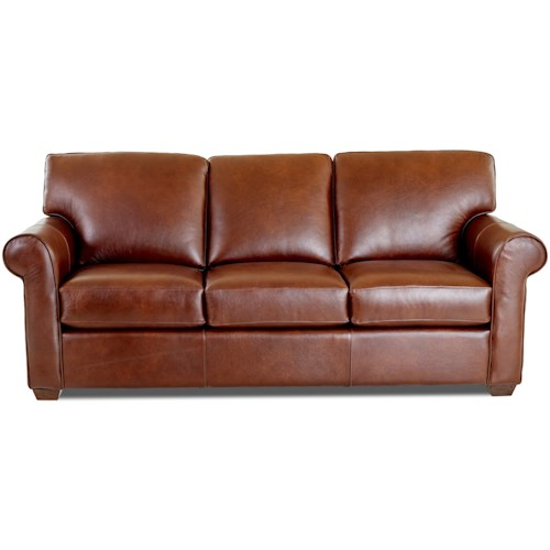Klaussner Canoy Transitional Sofa with Rolled Arms and Exposed Wood Feet