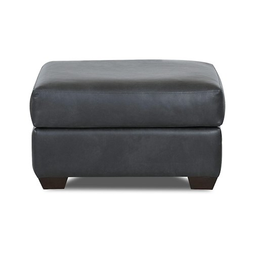 Klaussner Canoy Transitional Ottoman with Tapered Wood Feet