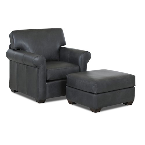 Klaussner Canoy Transitional Chair and Ottoman Set