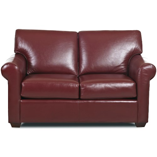 Klaussner Canoy Transitional Loveseat with Rolled Arms and Exposed Wood Feet