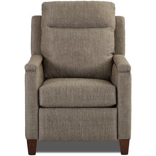 Klaussner Capitol High Leg Recliner with Nailhead Trim