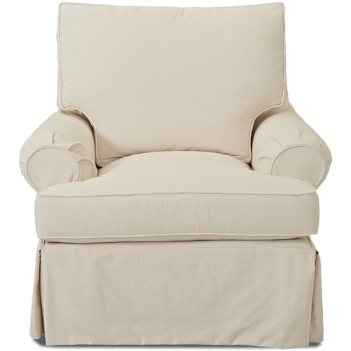 Klaussner Carolina D750 Casual Slip Cover Chair with Down Blend Cushions