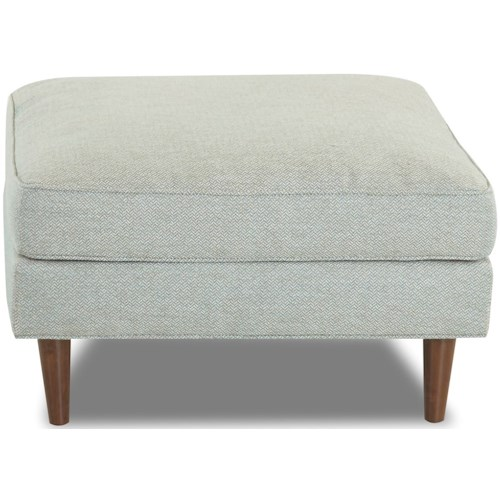 Klaussner Carson Mid-Century Modern Ottoman with Exposed Wood Legs