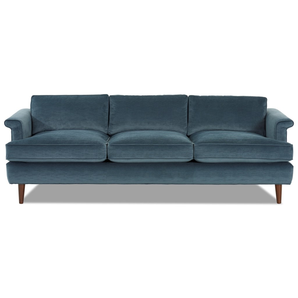 Carson mid century modern sofa with exposed wood legs and l shaped arms by klaussner